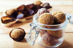 Pralines in the jar Stock Images