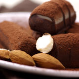 Pralines met Cacao Stock Afbeelding