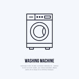 Pralki ikona, płuczka kreskowy logo Mieszkanie znak dla launderette usługa Logotyp dla samoobsługowej pralni, odziewa ilustracja wektor