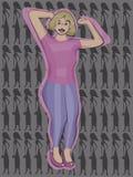 Pralles, starkes, nettes Mädchen mit dem blonden Haar in einem rosa T-Shirt von blauen festen Jeans in den rosa Schuhen mit hellr lizenzfreie abbildung