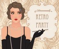 Prallplattenmädchen: Retro- Parteieinladungsdesign Stockbild