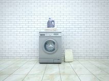 Pralnia Pralka z detergentem i ręcznikami Zdjęcia Stock