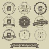 Pralnianego biznesu rocznika etykietka Fotografia Royalty Free