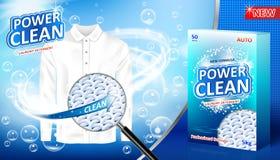 Pralnianego detergentu reklama Plama zmywacza pakunku projekt dla reklamować z mydlanymi bąblami, zbliżenia spojrzenie przy włókn obraz stock