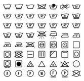 Pralniani symbole i ikona ustawiający wektor Fotografia Stock