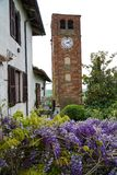 The tower of the village of Pralormo with wisteria. Pralormo Piedmont Italy The physiognomy of the town is strongly characterized by the Parish Church of San royalty free stock image