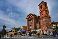 The church of the village of Pralormo. Pralormo Piedmont Italy The physiognomy of the town is strongly characterized by the Parish Church of San Donato, built stock photo