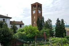The tower of the village of Pralormo. Pralormo Piedmont Italy The physiognomy of the town is strongly characterized by the Parish Church of San Donato, built in royalty free stock photo