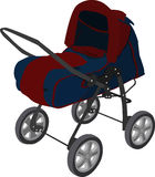 Pram. Baby carriage for children from 1 month till 3th years. It can be transformed to a stroller. (made in Abode Illustrator 8  eps Stock Image