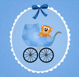 Pram for baby. Funny illustration of birth announcement Stock Photos