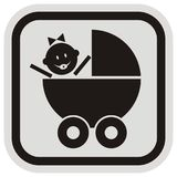 Pram and baby girl, black vector icon, gray and black contour. Pram and baby gir. Black vector icon. Gray and black contour. Label with baby girl at pram. Baby Royalty Free Stock Photos