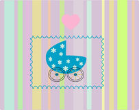 Pram blue for baby. Vectors illustration Stock Illustration