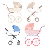 Pram for boy and girl, retro and modern. Baby carriage Stock Image