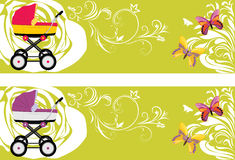 Pram. Decorative banners for design Stock Photo