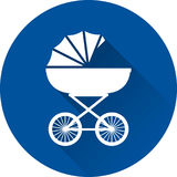 Pram icon. Baby carriage on blue background. Vector illustration. Pram icon. Vector. White baby carriage on blue background. Baby shower simple symbol of buggy Stock Photography
