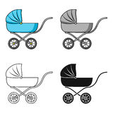 Pram icon in cartoon style isolated on white background. Baby born symbol stock vector illustration. Royalty Free Stock Image
