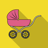 Pram icon in flate style on white background. Baby born symbol stock vector illustration. Pram icon in flate style on white background. Baby born symbol vector vector illustration