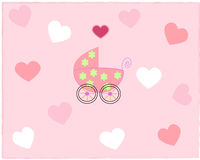 Pram for newborn girl Royalty Free Stock Photos
