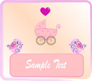 Pram for newborn girl. Vectors illustration Stock Illustration