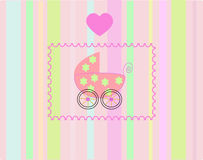 Pram for newborn girl. Royalty Free Stock Photos