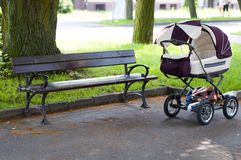 Pram in the park Royalty Free Stock Photos