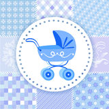 Pram on a patchwork background Stock Image