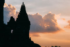 Заход солнца на prambanan виске Стоковые Изображения