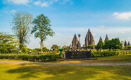 Prambanan or Candi Rara Jonggrang is a Hindu temple compound in Java, Indonesia, dedicated to the Trimurti: the Creator Brahma,. The Preserver Vishnu and the stock photo