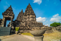 Prambanan or Candi Rara Jonggrang is a Hindu temple compound in Java, Indonesia, dedicated to the Trimurti: the Creator Brahma,. The Preserver Vishnu and the royalty free stock photo