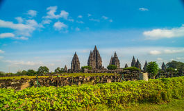 Prambanan or Candi Rara Jonggrang is a Hindu temple compound in Java, Indonesia, dedicated to the Trimurti: the Creator Brahma,. The Preserver Vishnu and the royalty free stock photography