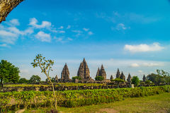 Prambanan or Candi Rara Jonggrang is a Hindu temple compound in Java, Indonesia, dedicated to the Trimurti: the Creator Brahma,. The Preserver Vishnu and the royalty free stock image