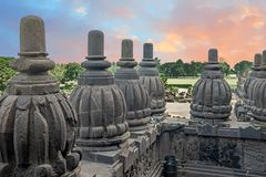 Prambanan or Candi Rara Jonggrang is a Hindu temple compound in. Java, Indonesia, dedicated to the Trimurti: the Creator Brahma, the Preserver Vishnu and the Stock Images