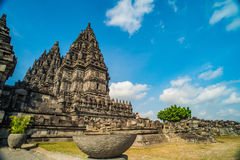 Prambanan or Candi Rara Jonggrang is a Hindu temple compound in Java, Indonesia, dedicated to the Trimurti: the Creator Brahma,. The Preserver Vishnu and the stock photos