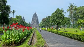 Prambanan or Candi Rara Jonggrang is a Hindu temple compound in. Java, Indonesia, dedicated to the Trimurti: the Creator Brahma, the Preserver Vishnu and the Stock Photography