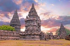 Prambanan or Candi Rara Jonggrang on Java Indonesia at sunset Royalty Free Stock Photos