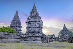 Prambanan or Candi Rara Jonggrang on Java Indonesia at sunset Royalty Free Stock Images