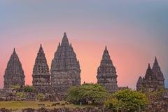 Prambanan or Candi Rara Jonggrang on Java Indonesia at sunset Stock Image