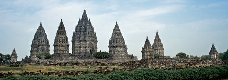 Prambanan Hindu Temple. Wide angle view of Candi Prambanan, 9th century Hindu Temple in Central Java, Indonesia Royalty Free Stock Photography