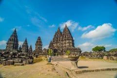 Prambanan o Candi Rara Jonggrang es un compuesto del templo hindú en Java, Indonesia, dedicada al Trimurti: el creador Brahma, Fotografía de archivo