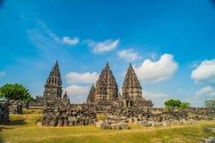 Prambanan o Candi Rara Jonggrang es un compuesto del templo hindú en Java, Indonesia, dedicada al Trimurti: el creador Brahma, Foto de archivo libre de regalías