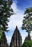 Prambanan tempel, ett historiskt ställe för Hindus i Indonesien royaltyfria foton