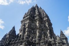 Prambanan temple building under blue sky. Closeup of historical Prambanan temple building under blue sky at Yogyakarta, Indonesia Stock Image