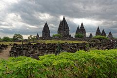 Prambanan Temple Compounds. Prambanan is a 9th-century Hindu temple compound in Central Java, Indonesia, dedicated to the Trimurti, the expression of God as the stock photo
