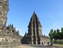 Prambanan Temple Compounds in Yogyakarta. Yogyakarta, Indonesia - October 31, 2018: Some tourist visiting Prambanan temple. Prambanan Temple Compounds is the royalty free stock image