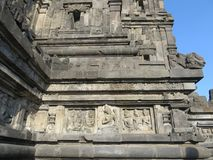 Prambanan Temple Compounds in Yogyakarta. Yogyakarta, Indonesia - October 31, 2018: Relief sculptures on the wall of Prambanan Temple royalty free stock images