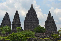 Prambanan. The Prambanan temple is the largest Hindu temple of ancient Java, and the first building was completed in the mid-9th century. It was likely started Royalty Free Stock Photos