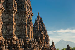 Prambanan temple with Merapi volcano, Indonesia royalty free stock images