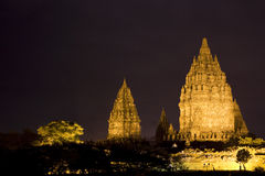 Prambanan Temple at Night, Yogyakarta, Indonesia Royalty Free Stock Photos