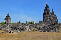 Prambanan Temples with stone ruins seen from outside the complex Royalty Free Stock Photography