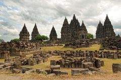 Prambanan Temple Compounds. Prambanan is a 9th-century Hindu temple compound in Central Java, Indonesia, dedicated to the Trimurti, the expression of God as the stock images